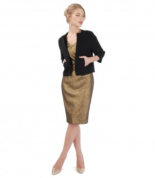 Elegant outfit with elastic cotton and bolero