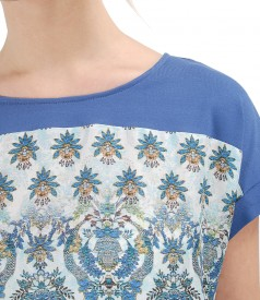 Blouse with viscose front with floral print