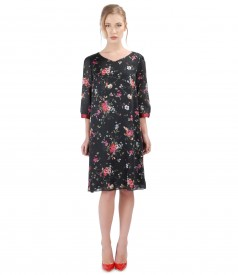 Elegant dress made of veil with floral print and trim