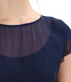 Viscose blouse with veil trim