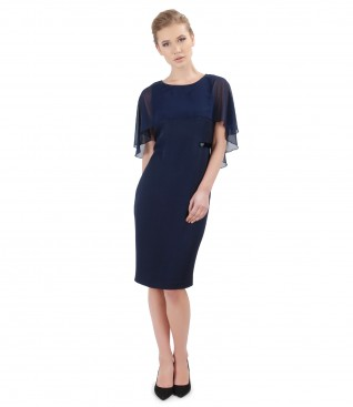 Viscose dress with cape embellished with crystals from Swarovski<sup style=font-size:0.5em></sup>