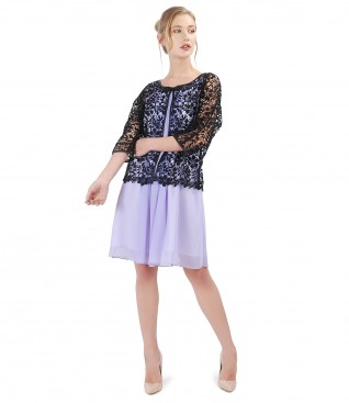Elegant outfit with lace bolero with veil dress
