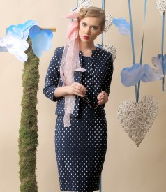 Elegant outfit with dress and elastic cotton jacket