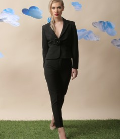 Office women suit with jacket and viscose skirt