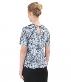 Uni elastic jersey blouse with collar