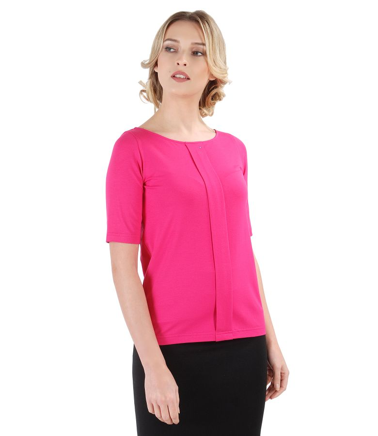 Elastic jersey blouse with fold and Swarovski crystals