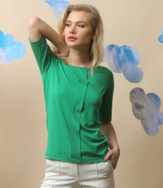 Elastic jersey blouse with fold and crystals