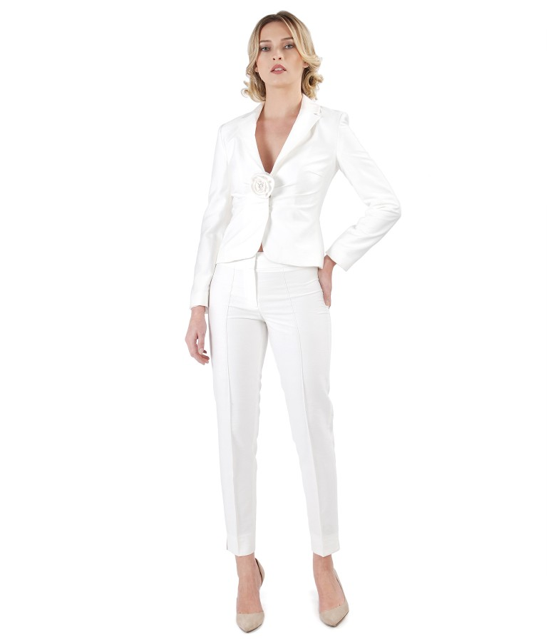 Office women suit with jacket and viscose pants