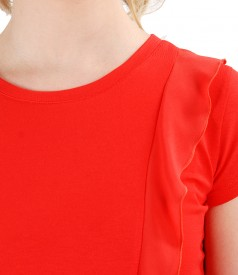 Elastic jersey blouse with veil inserts