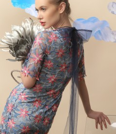 Evening dress made of embroidered lace with floral motifs