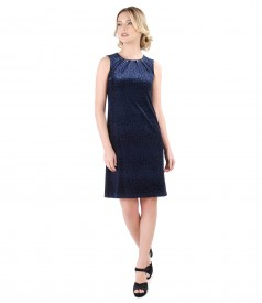 Dress with velvet folds and crystals