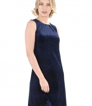 Dress with velvet folds and Swarovski crystals