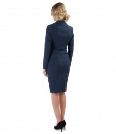 Office women suit with jacket and skirt made of fabric with viscose
