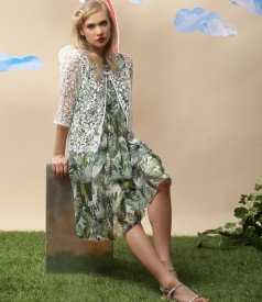 Printed veil dress with lace bolero