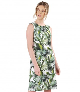 Jersey dress with floral print and front folds