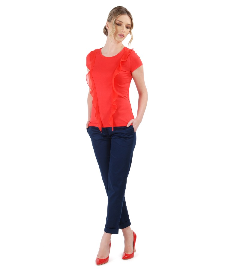 Elastic jersey t-shirt with veil inserts and elastic cotton pants