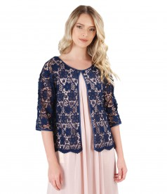 Lace bolero with floral motifs