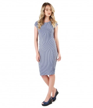 Midi viscose dress with short sleeves