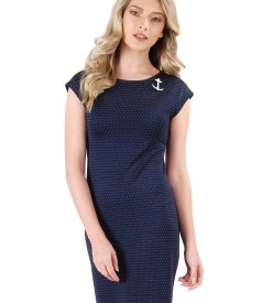 Midi viscose dress with short sleeves
