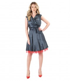 Satin dress printed with dots