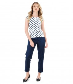Elastic cotton pants with t-shirt with floral print