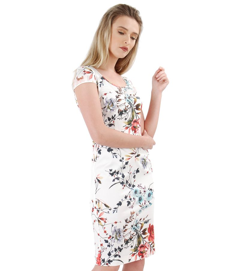 Midi elastic cotton dress with floral print