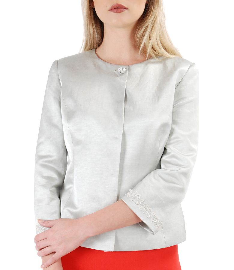 Elegant jacket made of fabric with flax with satin effect