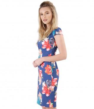 Midi elastic cotton dress with floral print