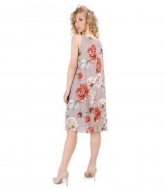 Veil dress with floral print