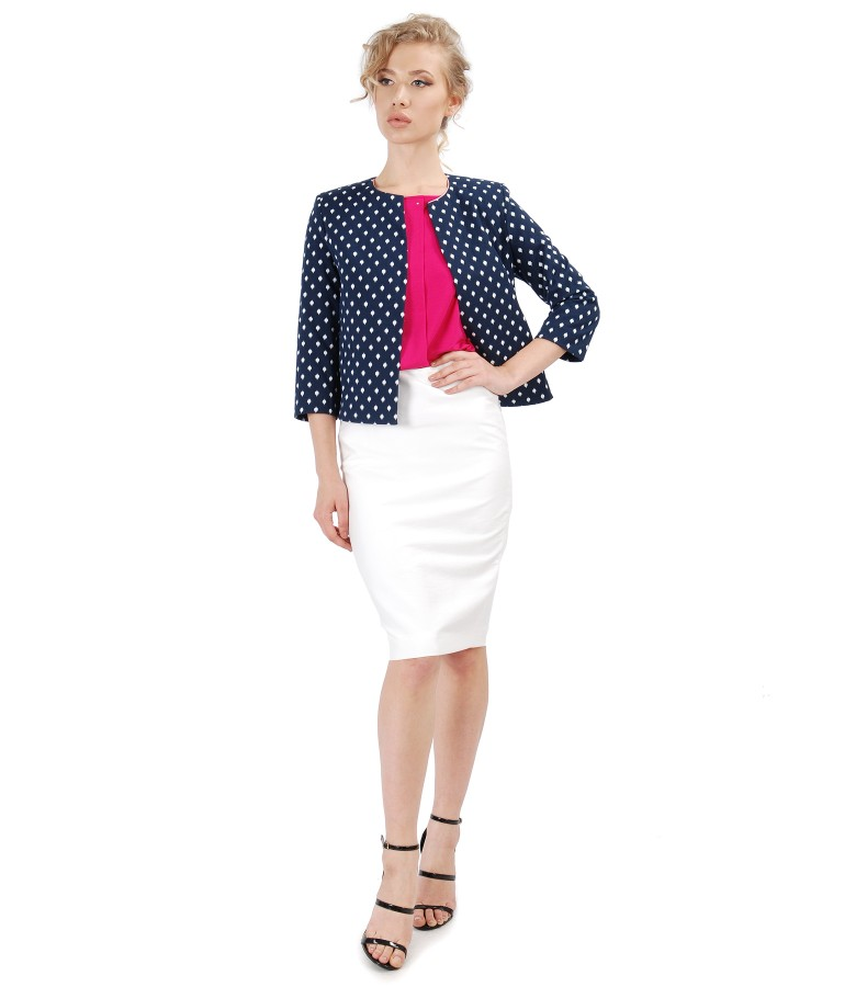 Elegant outfit with tapered viscose skirt and elastic cotton jacket