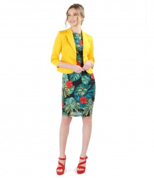 Dress with floral print and elastic cotton jacket