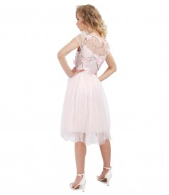 Evening dress with lace and floral motifs