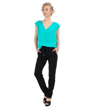 Casual outfit with veil blouse and pants with elastic waist
