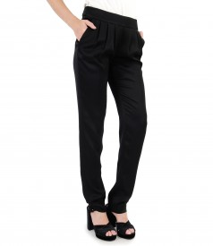 Viscose pants with pockets and folds