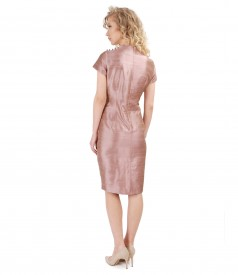 Silk taffeta dress with pearl