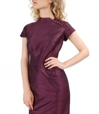 Silk taffeta dress with Swarovski pearl