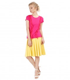 Flared skirt with elastic jersey blouse with veil inserts