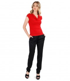 Elegant outfit with viscose pants and elastic jersey blouse