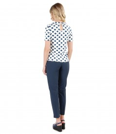 Ankle viscose pants and blouse with floral printed collar