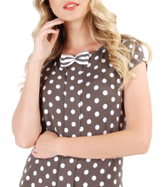 Elastic jersey blouse with lace corner print