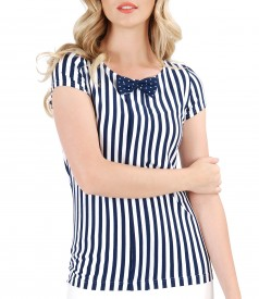 Elastic jersey blouse with stripes print