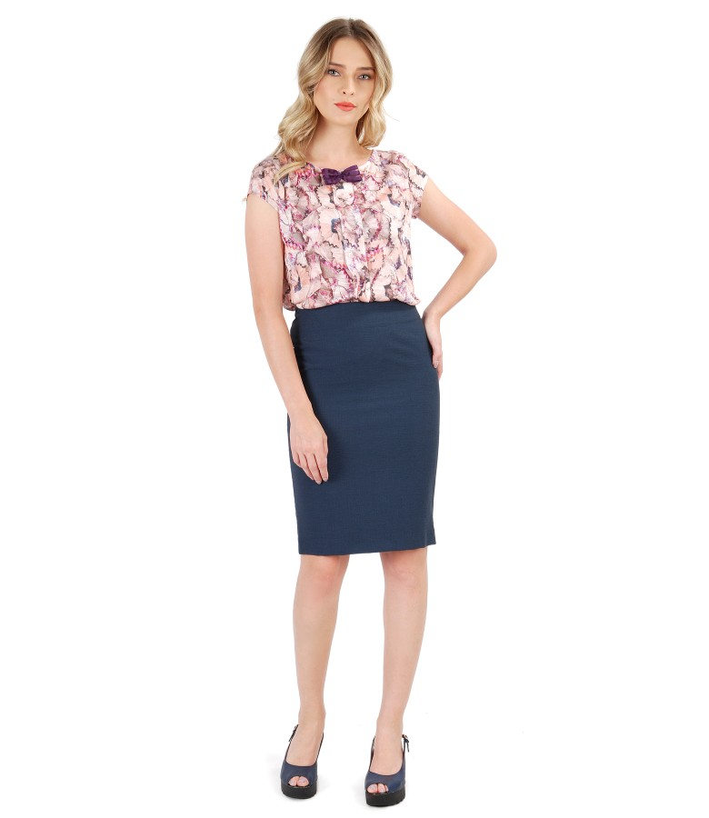 Tapered pencil office skirt with printed viscose blouse