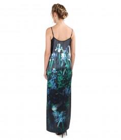 Long dress made of elastic natural silk