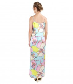 Long dress made of elastic natural silk