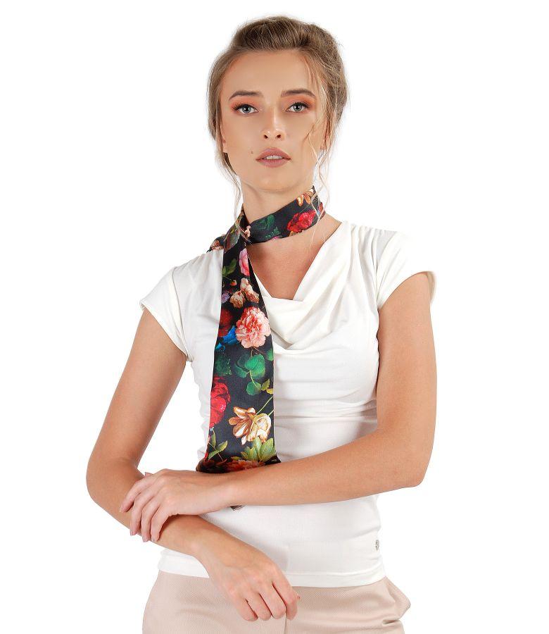 Elastic natural silk scarf