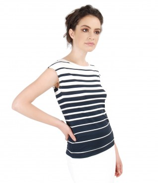 Jersey t-shirt with stripes print