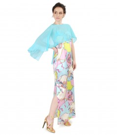 Evening outfit with natural silk dress and cape veil