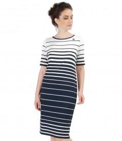Jersey navy dress with stripes