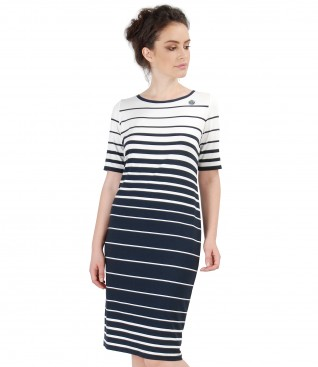 Jersey navy dress with stripes