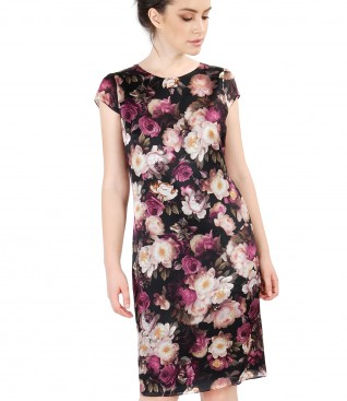 Casual silk dress with floral print